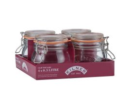 0.5 L 0.5 litre Kilner jar round clip top glass storage jar Mason Jar Set of 4 kitchen storage jars Heart of the Home Lytham www.potdolly.com 0025.021_2