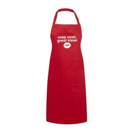 Adult Apron Crap Cook Great Kisser Red Apron Mens Apron Womens Apron Kitchen Apron Heart of the Home Lytham www.potdolly.com