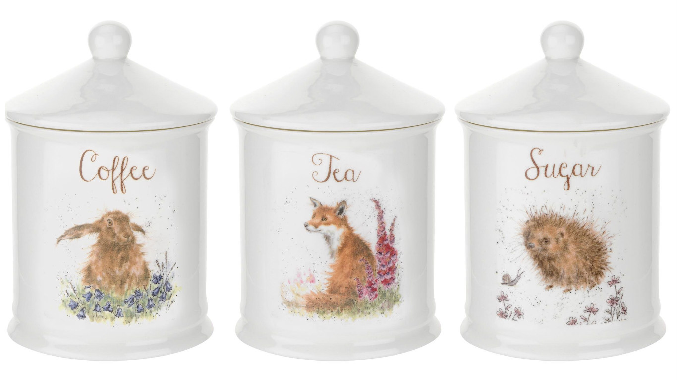 Tea Coffee Sugar Storage Jars Wrendale Tcs