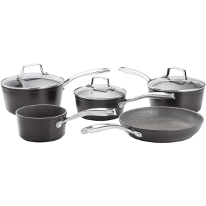 STELLAR ROCKTANIUM 5 PIECE PAN SET SAUCEPANS 16cm 18CM 20CM MILK PAN FRYING PAN SAUCE PAN HEART OF THE HOME LYTHAM POTDOLLY SPC1