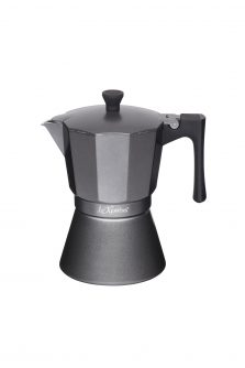 Le'Xpress 6-Cup Induction-Safe Stovetop Espresso Maker Coffee Percolator Heart of the Home Lytham www.potdolly.com LX6CUPGRY - Copy
