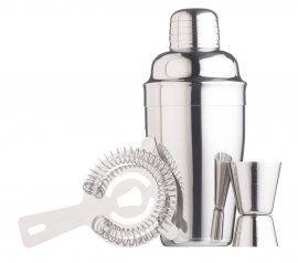 Cocktail shaker Gift Set 3 Piece Stainless Steel Spirit Drinks Measure Cocktail strainer Silver coloured Cocktail shaker Cocktail Recipes Boston Shaker Heart of the Home Lytham www.potdolly.com